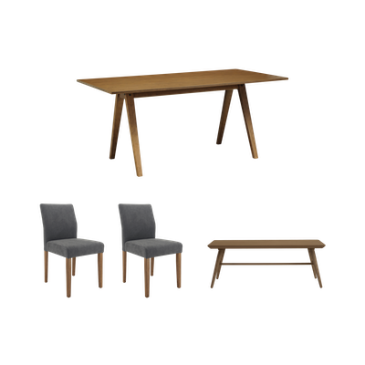 Varden Dining Table 1.7m with Marrim Bench and 2 Ladee Dining Chairs - Cocoa - Image 1