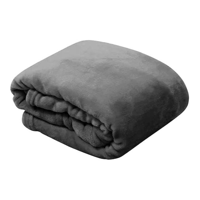 Marlow Velvet Plush Blanket - Dark Grey - 0