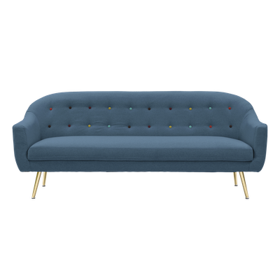 Arden 3 Seater Sofa - Blue - Image 1