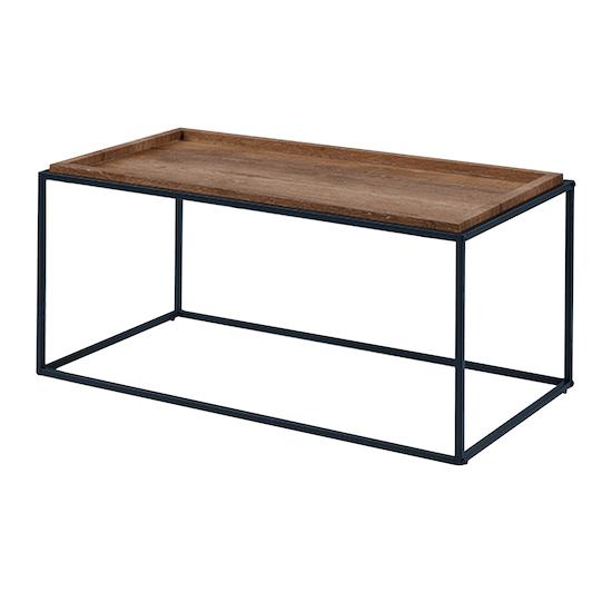 Glass and Metal - Dana Rectangle Coffee Table 1m - Walnut