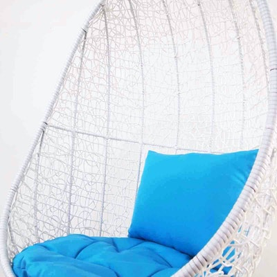 White Cocoon Swing Chair with Blue Cushion - Image 2