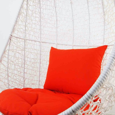 White Cocoon Swing Chair with Orange Cushion - Image 2