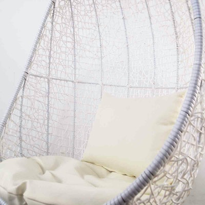 White Cocoon Swing Chair with Creamy White Cushion - Image 2