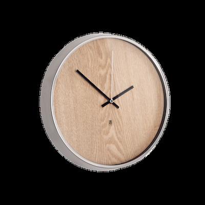 Madera Wall Clock - Natural, Nickle - Image 1
