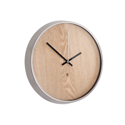 Madera Wall Clock - Natural, Nickle - Image 1