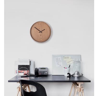 Madera Wall Clock - Natural, Nickle - Image 2