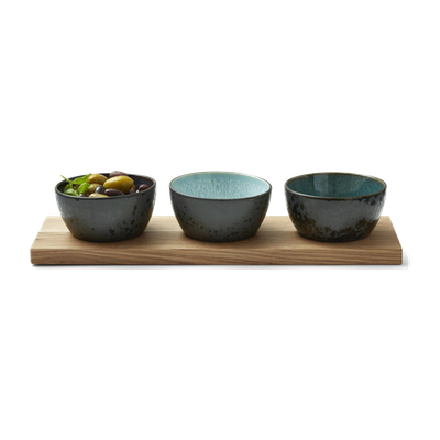 Duka Set of 3 Bowls with Wooden Tray - Image 1