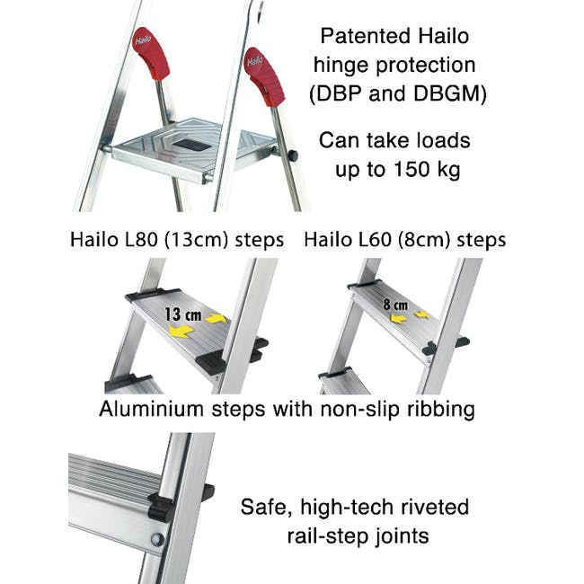 Hailo Aluminium 5 Step Ladder (2 Step Sizes) - 1
