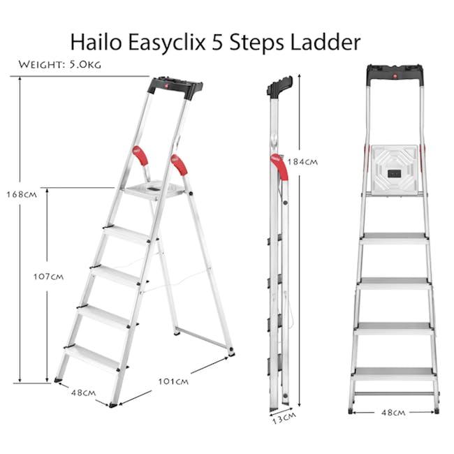 Hailo Aluminium 5 Step Ladder (2 Step Sizes) - 2
