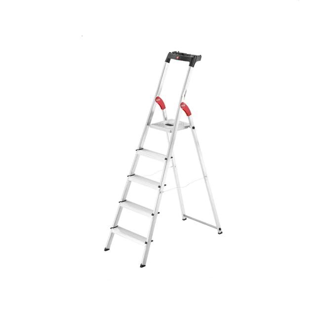 Hailo Aluminium 5 Step Ladder (2 Step Sizes) - 0