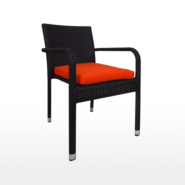 Boulevard Outdoor Dining Set with 4 Chair - Orange Cushion - 2