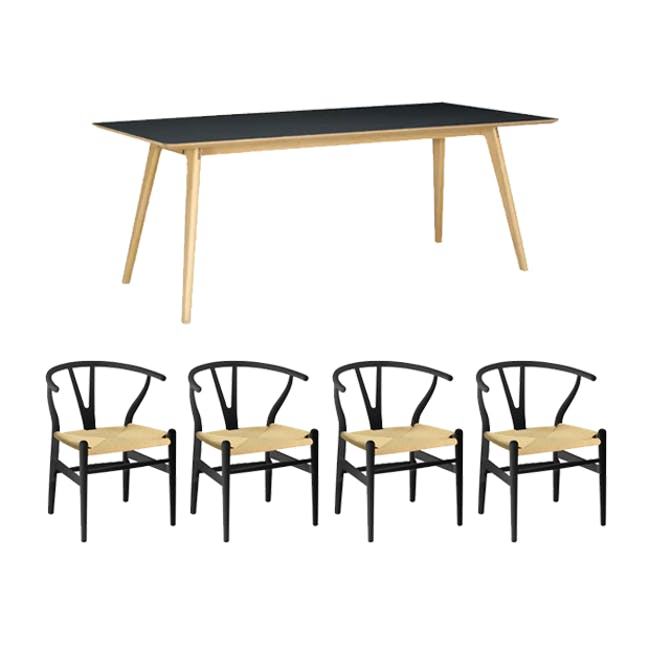 Tyrus Dining Table 2m with 4 Wishbone Chair Replica in Black, Natural Cord - 0