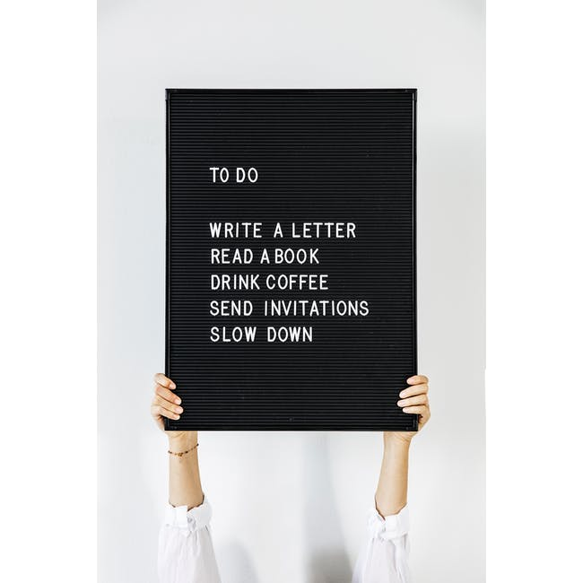 Letter Board with 286 Letters - Black, White - 2