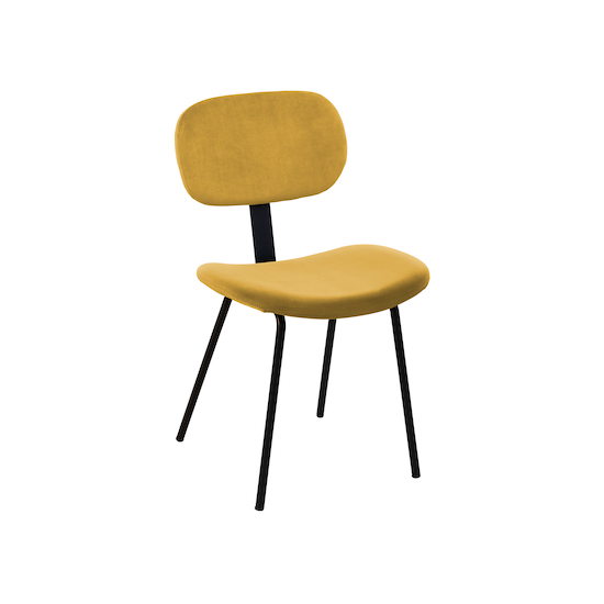 Verdon - Megan Dining Chair - Matt Black, Mustard (Velvet)