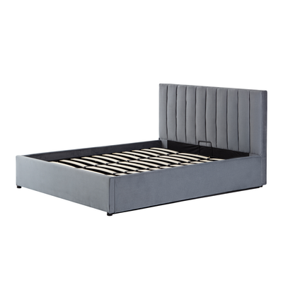 Audrey Queen Storage Bed - Grey (Velvet) - Image 2