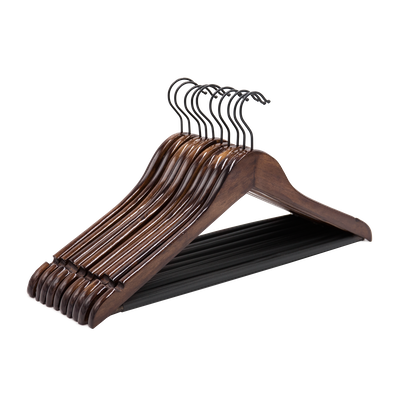 Wooden Non-Slip Hangers (Set of 10) - Walnut - Image 1