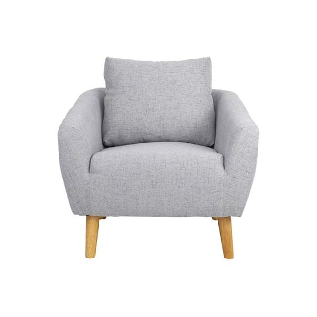 Hana 3 Seater Sofa with Hana Armchair - Light Grey - 5