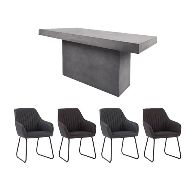 Ryland Concrete Dining Table 1.6m with 4 Edson Dining Armchairs in Titanium and Mocha Faux Leather - 0