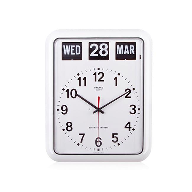 TWEMCO Analog Calendar Flip Wall Clock - White - 0