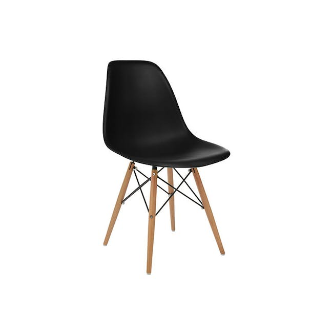 Varden Dining Table 1.7m in Black Ash with 4 DSW Chair Replica - Natural, Black - 10