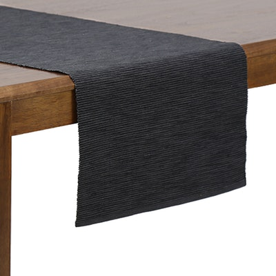 Rectangular Cotton Table Runner - Dark Grey - Image 1