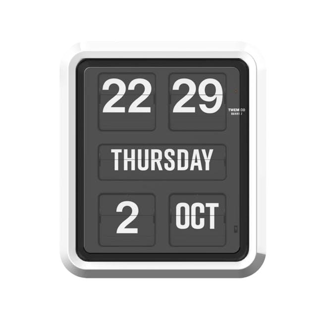 TWEMCO Big Calendar Flip Wall Clock - White Case Black Dial - 0