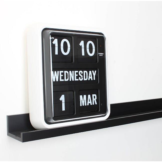TWEMCO Big Calendar Flip Wall Clock - White Case Black Dial - 1