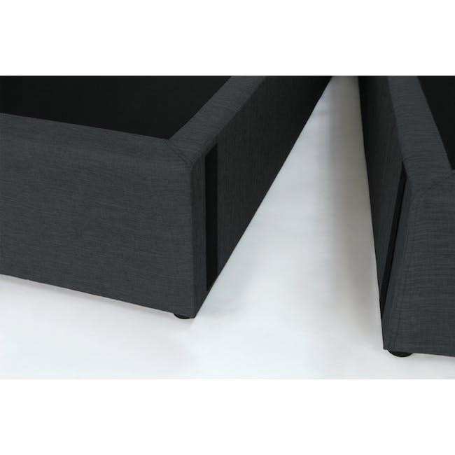 ESSENTIALS Queen Headboard Box Bed - Smoke (Fabric) - 7
