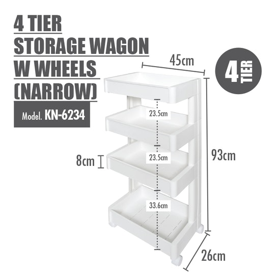 Houze - 4 Tier Storage Wagon with Wheels - Narrow