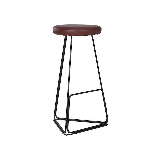 Tivona Bar Stool - Black, Brown (Genuine Cowhide) - 1