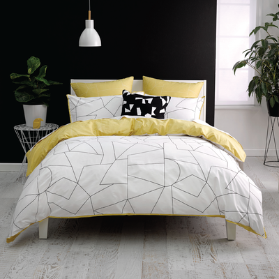 (Super Single) Fraction Yellow 4-Pc Bedding Set - Image 1