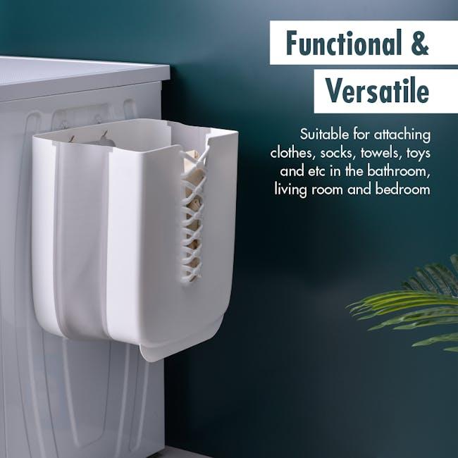 HOUZE Foldable Hanging Laundry Basket - White - 2