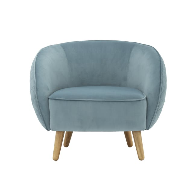 Braton Lounge Chair with Amos Round Ottoman - Jade (Velvet) - 1