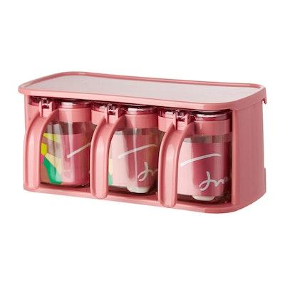 Glass Condiment 3-Piece Pot Set - Pink - Image 1