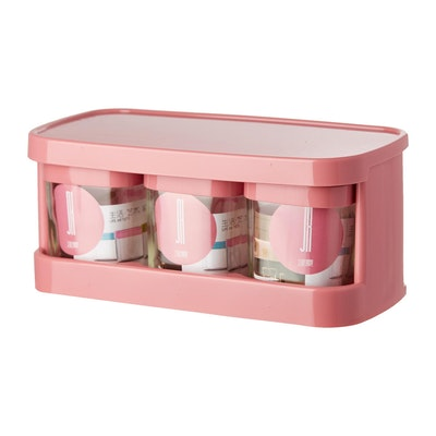 Glass Condiment 3-Piece Pot Set  - Pink