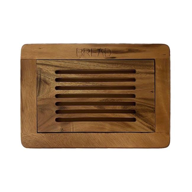 Acacia Wood Bread Cutting Board with Crumb Catcher - 0