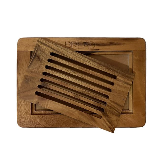 Acacia Wood Bread Cutting Board with Crumb Catcher - 1