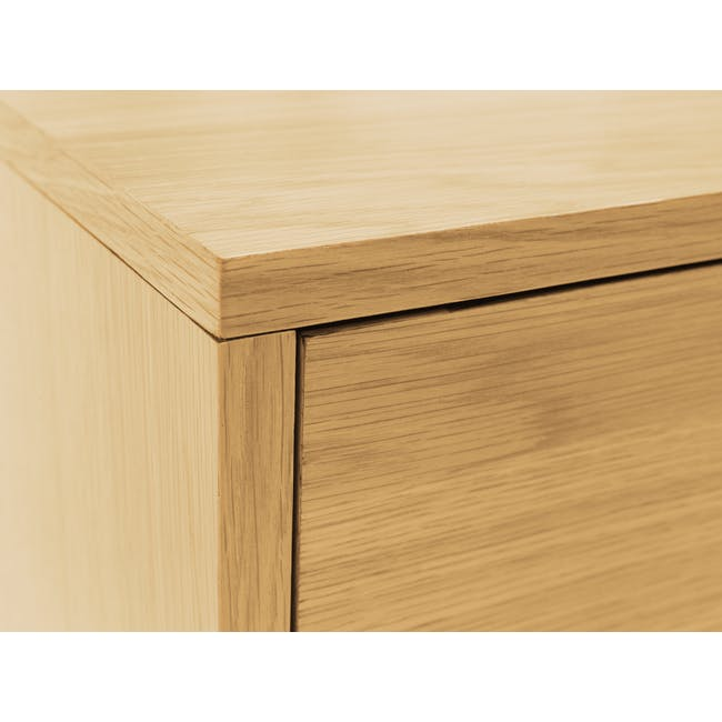 Audrey King Storage Bed in Silver Fox with 2 Kyoto Top Drawer Bedside Tables in Oak - 15