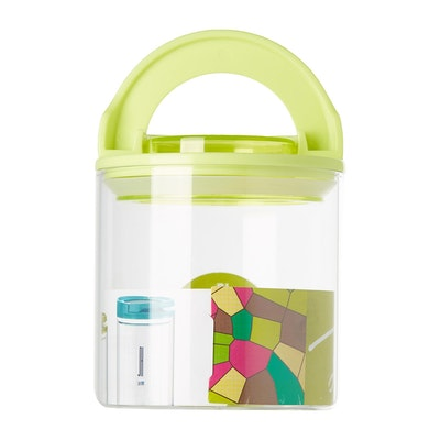 600ml Glass Jar With Handle Lock Cover - Green