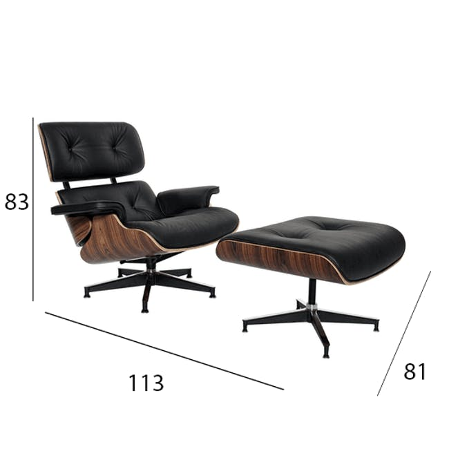 Eames Lounge Chair and Ottoman Replica - Black (Genuine Cowhide) - 10