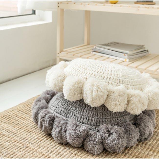 Tessa Round Knitted Cushion - Cream - 2