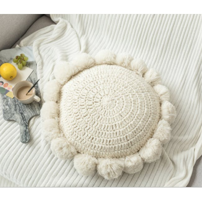 Tessa Round Knitted Cushion - Cream - 1