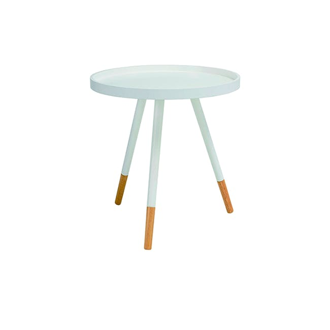 Liam Media Rack 1.2m in Dust Green with Innis Coffee Table in White - 5
