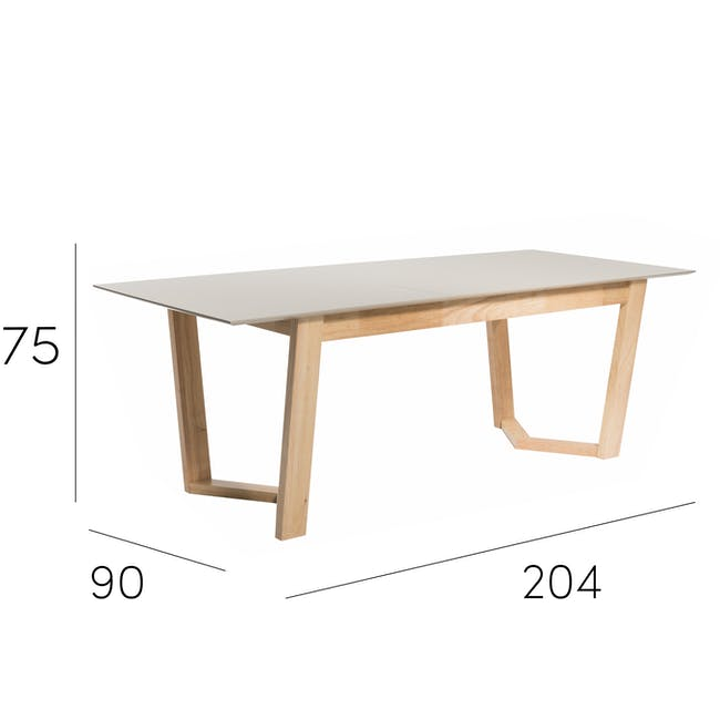Meera Extendable Dining Table 1.6m - Natural, Taupe Grey - 18