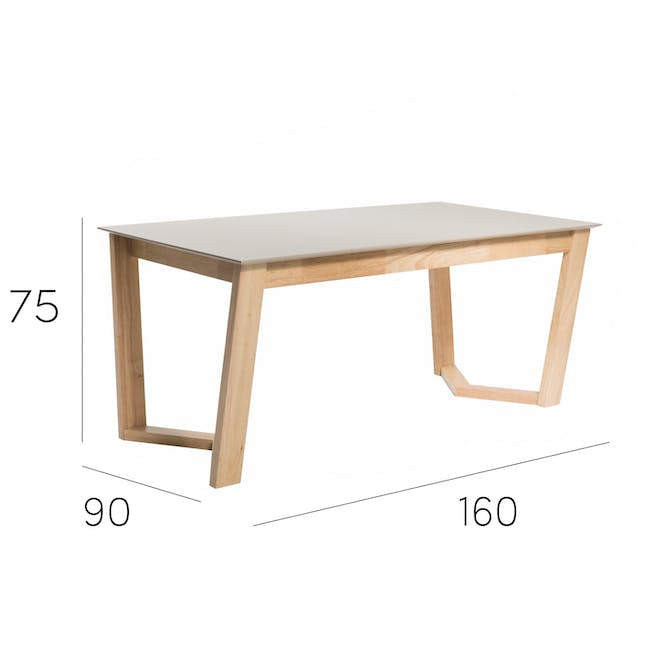 Meera Extendable Dining Table 1.6m - Natural, Taupe Grey - 17