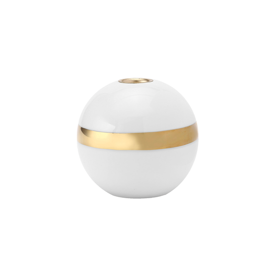 Laholm - Kayla Candle Holder - White with Horizontal Gold Line