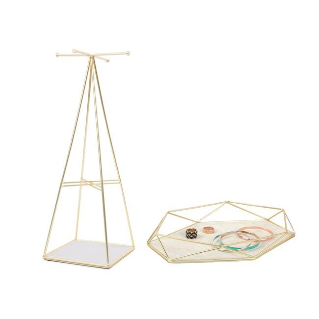 Prisma Jewelry Stand with Prisma Jewelry Tray - Brass - 0