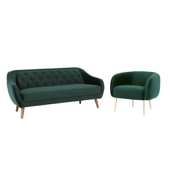 Sven 3 Seater Sofa with Alero in Dark Green (Velvet) - 0