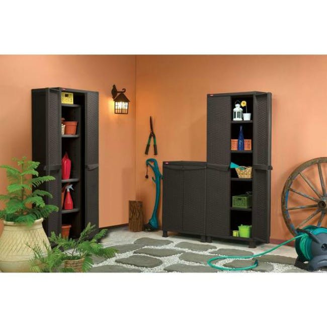 Rattan Wall and Base with Legs - Dark Brown - 3