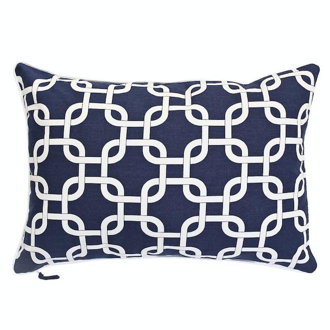 Lattice Rectangle Cushion - Navy - 0